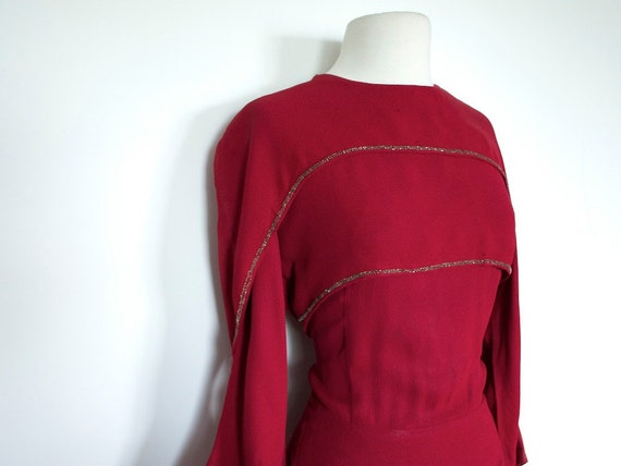 Reserved for B Vintage 1940's Burgundy CREPE EVENING Dress with Tiers and Beadwork