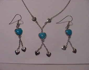 Vintage Blue & Silver Hearts Necklace And Pierced Earring Set    Very Nice   2011 - 32