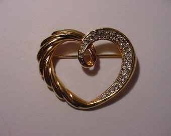 Vintage Gold Tone Heart Brooch With Rhinestone Accents  LL 8