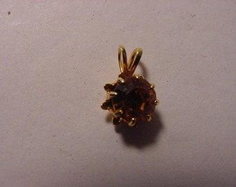 Vintage Mini Gold Rhinestone Pendant   2011 - 394