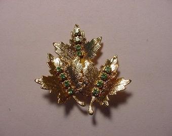 Vintage Marka Canada Rhinestone Maple Leaf Brooch  2011 - 696
