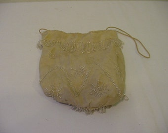 Vintage Off  White Purse With Clear Glass Bead Work   # HAS 91