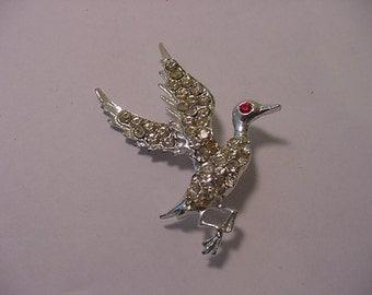 Vintage Rhinestone Duck Brooch  2011 - 1523