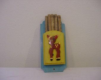 Vintage Wood Kitchen Knife Holder With Sweet Baby Deer & Knifes  2011 -989