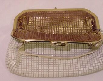 Vintage Reversible White & Gold Metal Mesh Purse    Different   # HAS 53