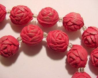 Vintage Pink  Rose Pedal  Beads Necklace  2011 - 1889