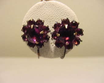 Vintage Sterling Silver And Purple Rhinestone Screw On Earrings  2011 - 1901