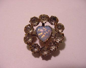 Vintage Heart Shaped Opal And Rhinestone Brooch  11 - 1935