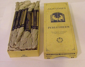 Vintage New Old Stock J. & P. Coats Perlesheen No. 8 Embroidery  Linen 35 - 20 Yard Skeins In Original Box11 - 1975