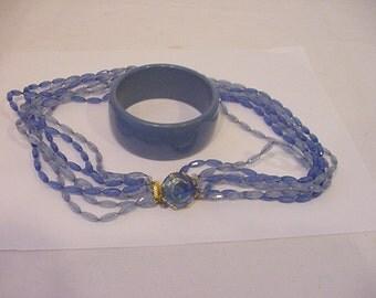 Vintage Plastic Blues Seven Strand Necklace With Bangle Bracelet  11 - 1424