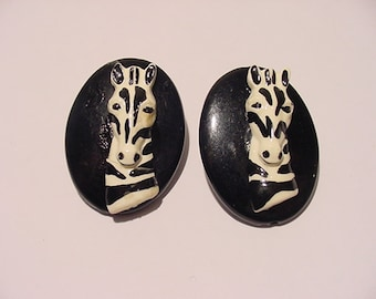 Vintage Zebra Pierced Earrings   11 -1983