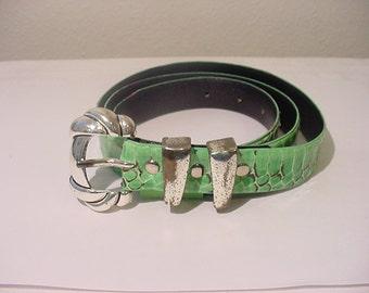 Vintage Green Snake Skin Belt   11 - 1997