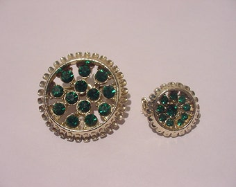 Vintage Green Rhinestone Brooches Or Duet Scatter Pins  12 - 14