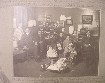 Vintage 1904  Original Photograph Of  A Family In Their Office With Lots Of Childrens Toys  # HAS 58