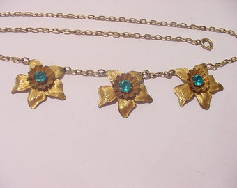Vintage 1 / 20 12K GF Blue Rhinestone Flower Blossom Necklace  12 - 41
