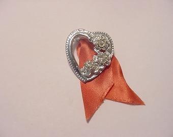 Vintage  Rhinestone Heart Brooch 12 - 72