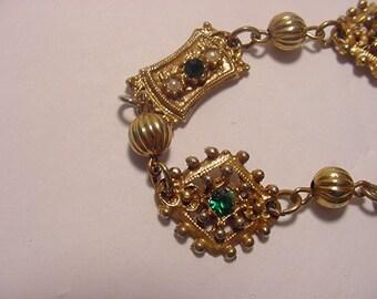 Vintage Green Rhinestone And Faux Pearl Bracelet  12 - 83