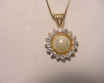 Vintage FAS Italy 925 Rhinestone And Faux Pearl Necklace  12 - 89