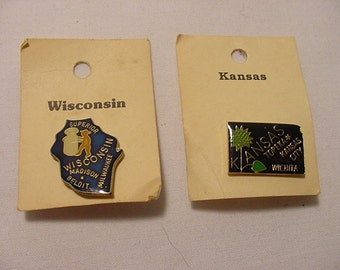 18 Vintage Enameled States Of The United States Of America Souvenir Tacks   12 - 201