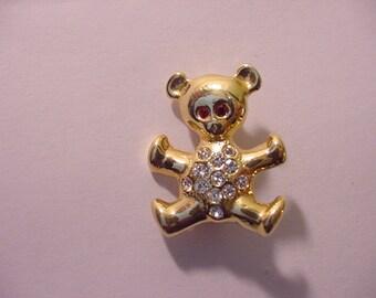 Vintage Rhinestone Teddy Bear Brooch  11 - 1025