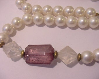 Vintage Plastic Faux Pearl And Amethyst Necklace  11 - 1272