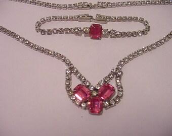 Vintage Pink And Clear Rhinestone Necklace & Bracelet Set  12 - 305