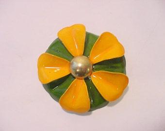 Vintage Orange And Green Metal Flower Brooch   12 -338