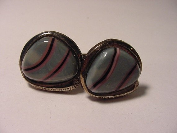 Vintage Blue With Purple & Pink Stripes Glass Cuff Links   A 26