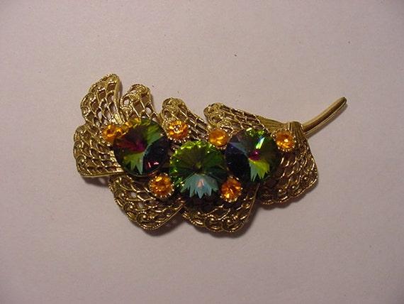 Vintage Filigree Rainbow Rhinestone Brooch   2011 - 486