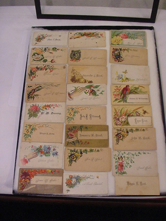 Antique Lot Of 24  Victorian Calling Cards In Glass Display Case