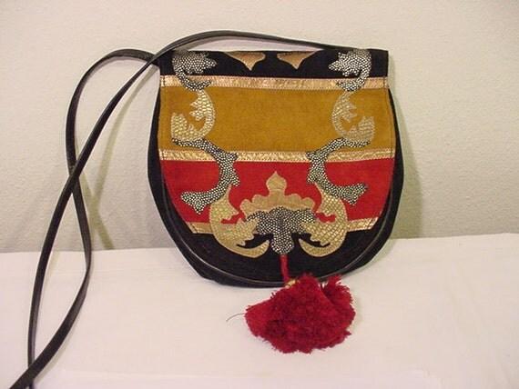 Vintage Carlos Falchi Suede & Leather Purse  Very Nice