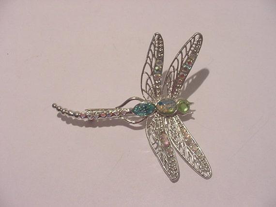 Vintage Rhinestone Dragonfly Brooch  11 - 2159