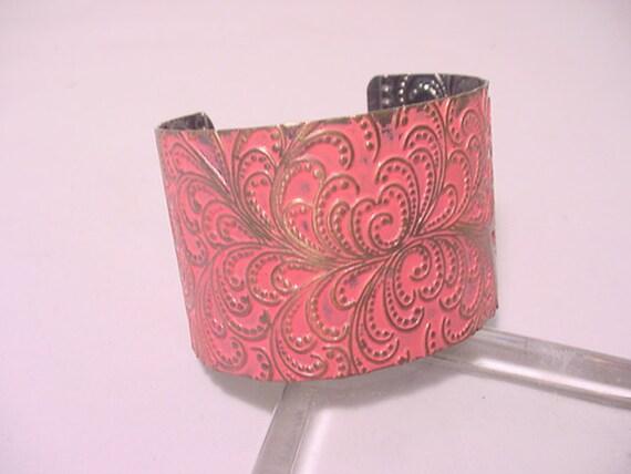 Vintage Pink Enameled Metal Cuff Bracelet   12 - 216