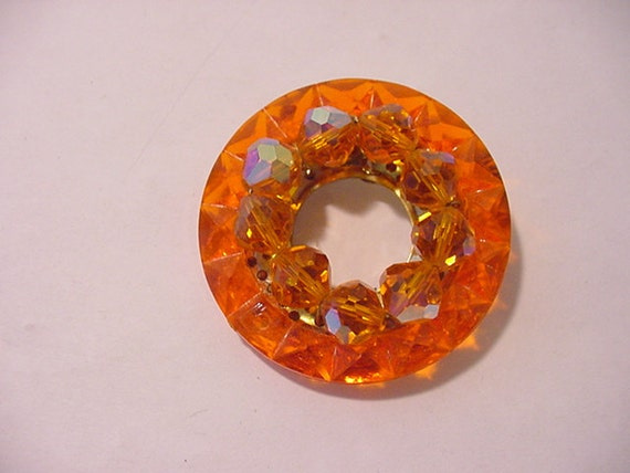 Vintage Orange Glass Bead Brooch  12 - 341