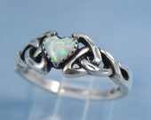 Vintage Heart Fire Opal Sterling Ring FREE SHIPPING