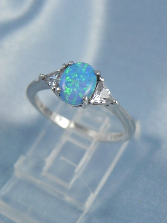 Avon Sterling Opal and CZ Ring