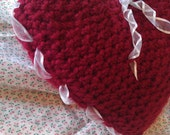 Pillow heart  crochet with white ribbon Valentine home decoration