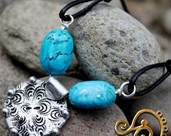 Lagenlook, Turquoise and Silver Pendant, Necklace, PMC Silver, Handmade