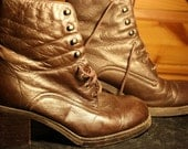 Vintage Chocolate Brown Lace Up Steampunk Work Boots