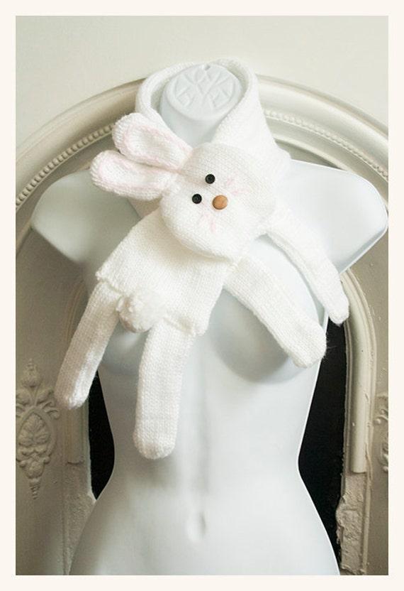 white bunny scarf cowl