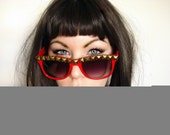Devil- Red Shiny Wayfarer Sunglasses With Antique Gold Pyramid Studs On Brow