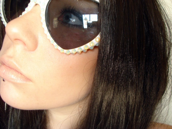 Elysium- White Heart Shaped Sunglasses Covered In Opal Rhinestones
