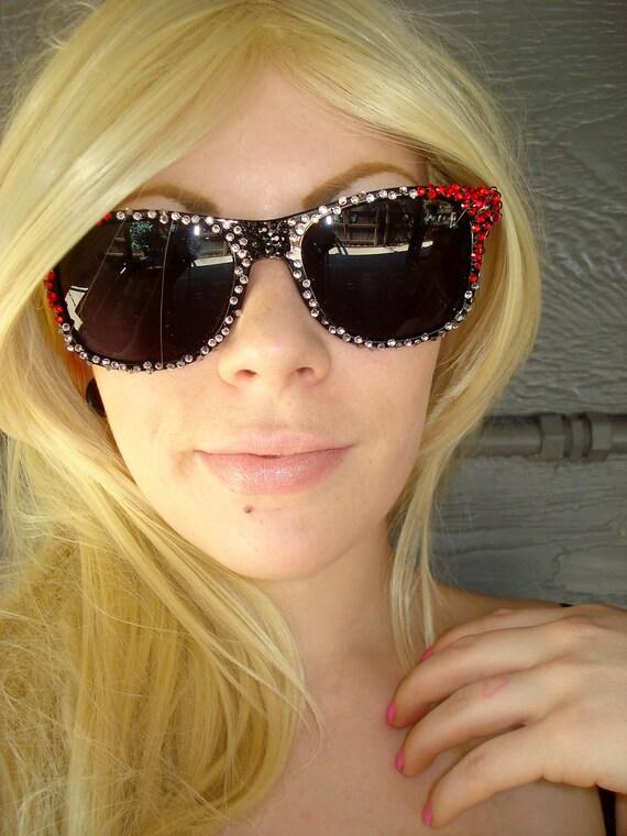 Reserved for Amanda Bukman- Black Thor Inspired Wayfarer Sunglasses With Red, Grey & Black Rhinestones
