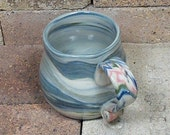 Original Handthrown Mug with Natural blue green red swirls  Agateware