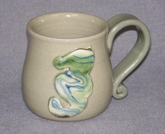 Hand Thrown Original Stoneware Nautical Coffee Mug Seahorse 12 oz