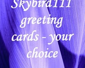 Greeting Card, pkg. of 4 photo art cards, your choice, blank 5 x 7 card, write your own message
