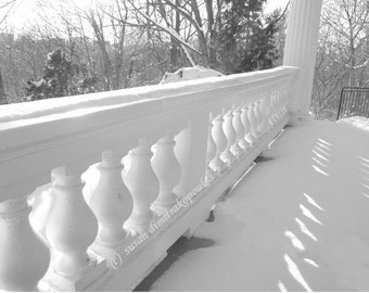 Christmas Winter scenery photograph, Verandah at Cedar Ridge blank card write your own msg, black white photograph, snow, winter, porch