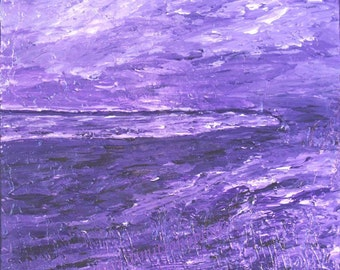 Mauve - landscape, home decor, acrylic painting, meditation, inspiration, spiritual, water, crown chakra