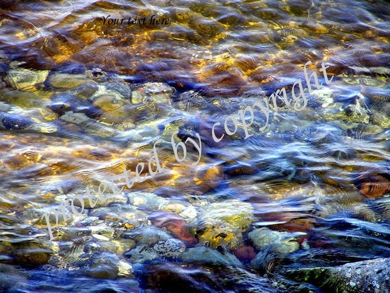 The River, abstract scenery fine art photograph, water, rocks, cobalt blue, amber, gold, meditation, peace, home office decor, gift 20
