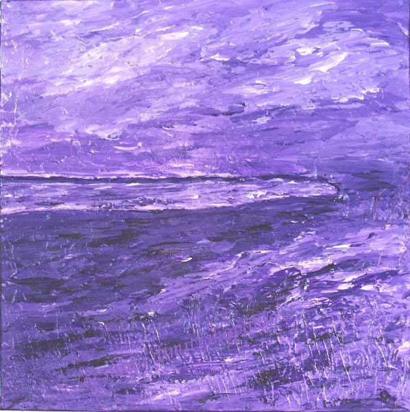 Mauve landscape home decor acrylic painting by Skybird111FineArt